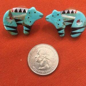 Jewelry - Vintage Zuni bear earrings